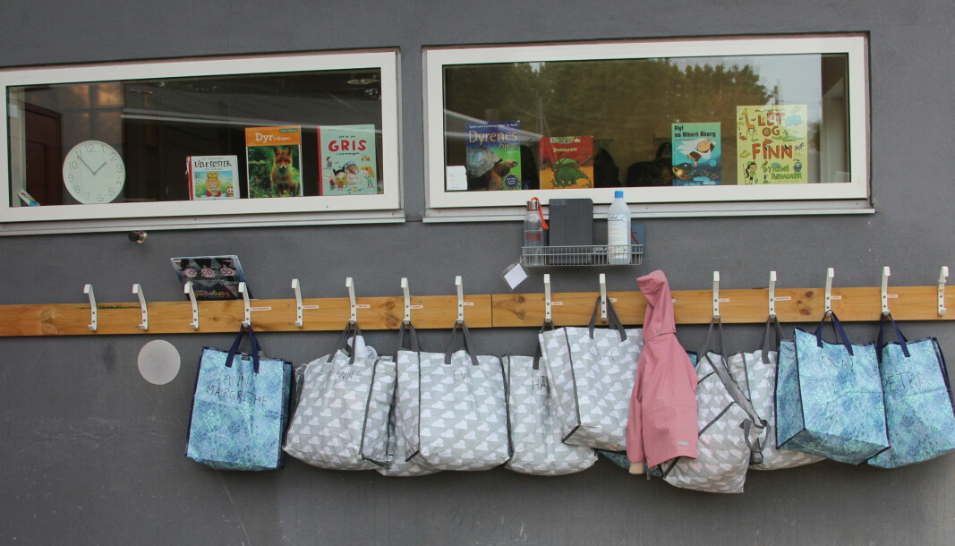 I den Blå Appelsin er alle poser til skiftetøy og skittentøy av gjenbrukskvalitet. - Vi bruker ikke plast til dette, sier Holmvik.
