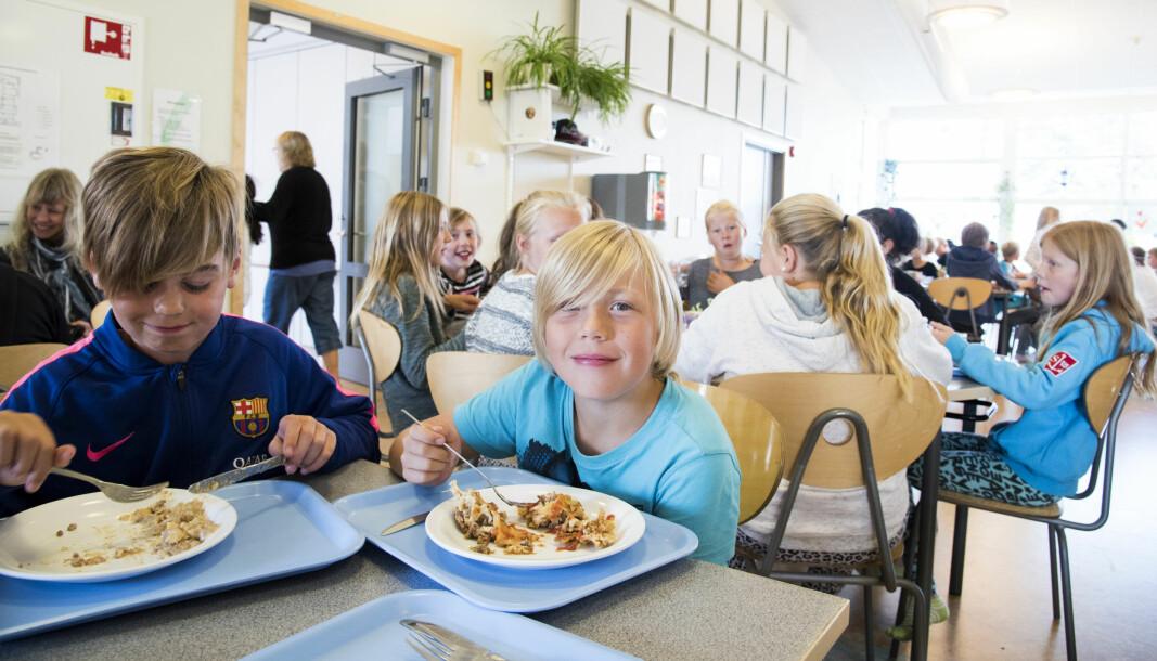 Svenske skolebarn får mat på skolen hver dag.