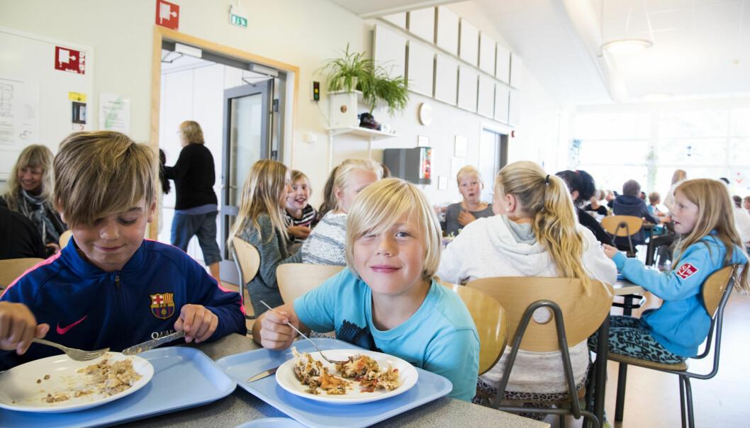 I Sverige og Finland får alle elever et sunt skolemåltid hver dag. På bildet spiser elevene ved Odelsbergskolan i svenske Strömstad.