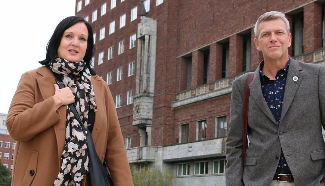 Forhandlingsleder Aina Skjefstad Andersen i Unio Oslo. Her sammen med nestleder i utvalget, Bård Eirik Ruud.