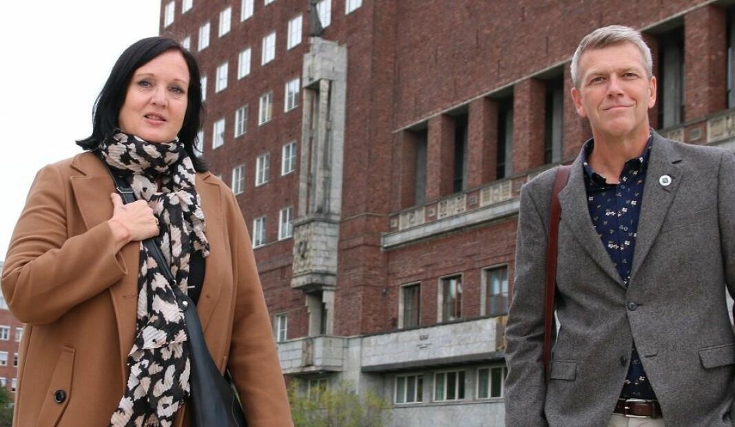 Forhandlingsleder Aina Skjefstad Andersen i Unio Oslo. Her sammen med nestleder i utvalget, Bråd Eirik Ruud.