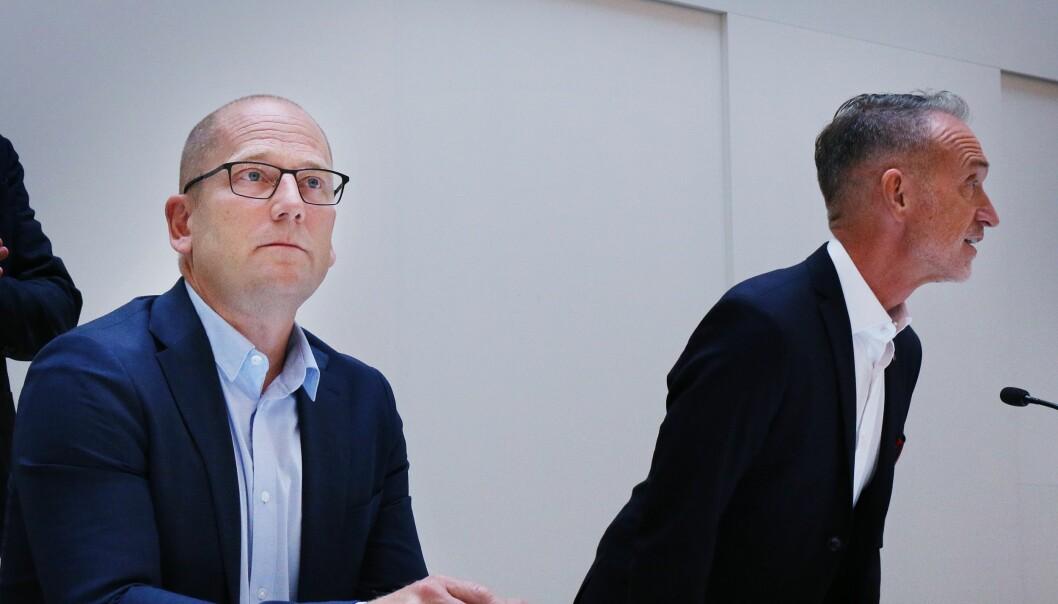 Forhandlingslederne Steffen Handal for Unio og Tor Arne Gangsø (til høyre) for KS.