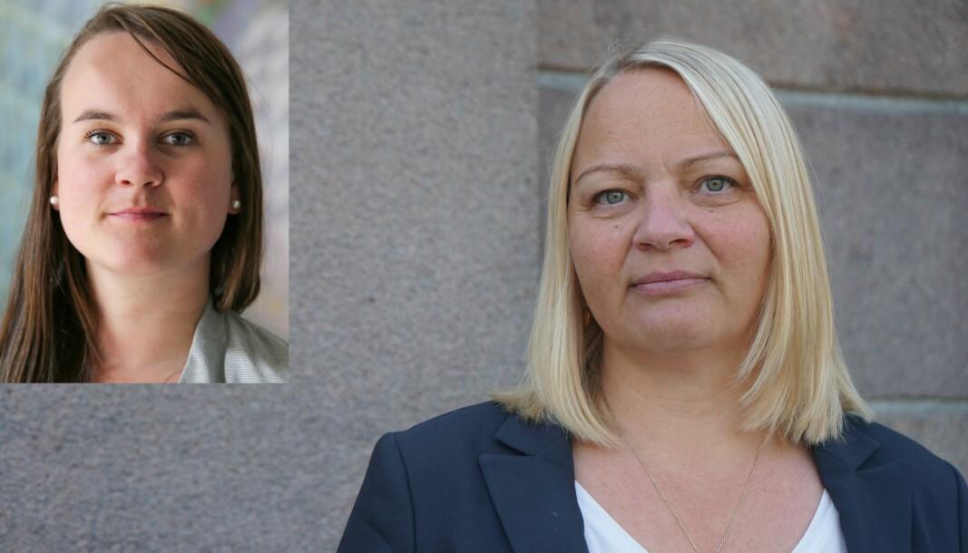 Marit Knutsdatter Strand (innfelt) og Mona Fagerås er kritiske til regjeringens manglende satsing på barnehage og skole.