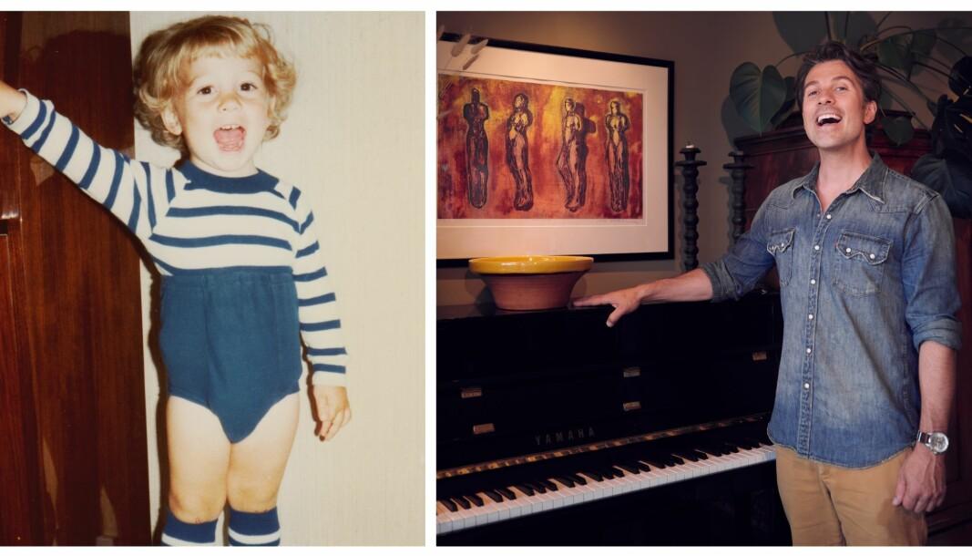 SANG VED PIANOET: Som liten sang artisten Espen Grjotheim både i barnehagen og sammen med dagmammaen, men det er hans musikkinteresserte foreldre som inspirerte til artistkarrieren. Nå kler han seg om til Freddie i musikalen Chess i Oslo.
