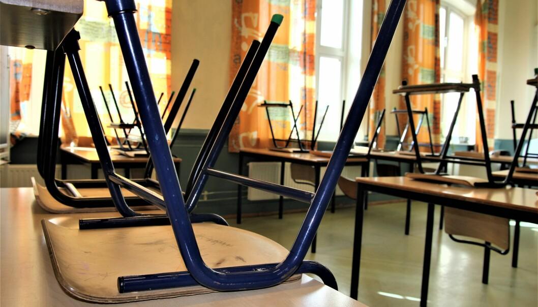 Tomme klasserom etter utbrudd av korona. Illustrasjonsfoto: