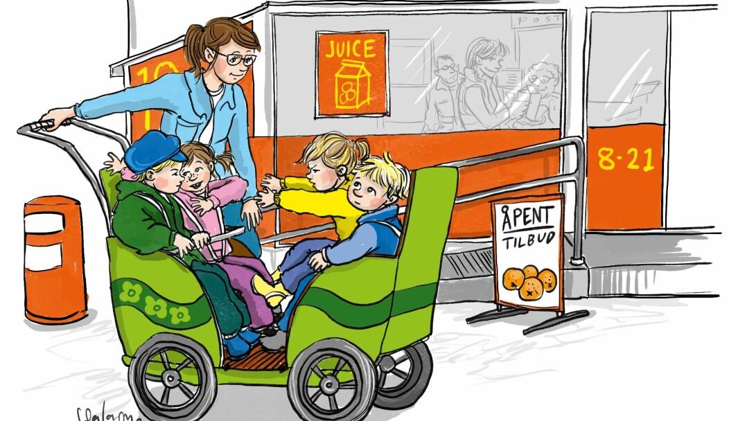 En barnevogn med fire seter der barna sitter mot hverandre, gir de yngste barna større mulighet for nonverbale handlinger og kommunikasjon og følelsen av å delta i et fellesskap, enn om de bare sitter ved siden av hverandre, ifølge artikkelforfatteren.