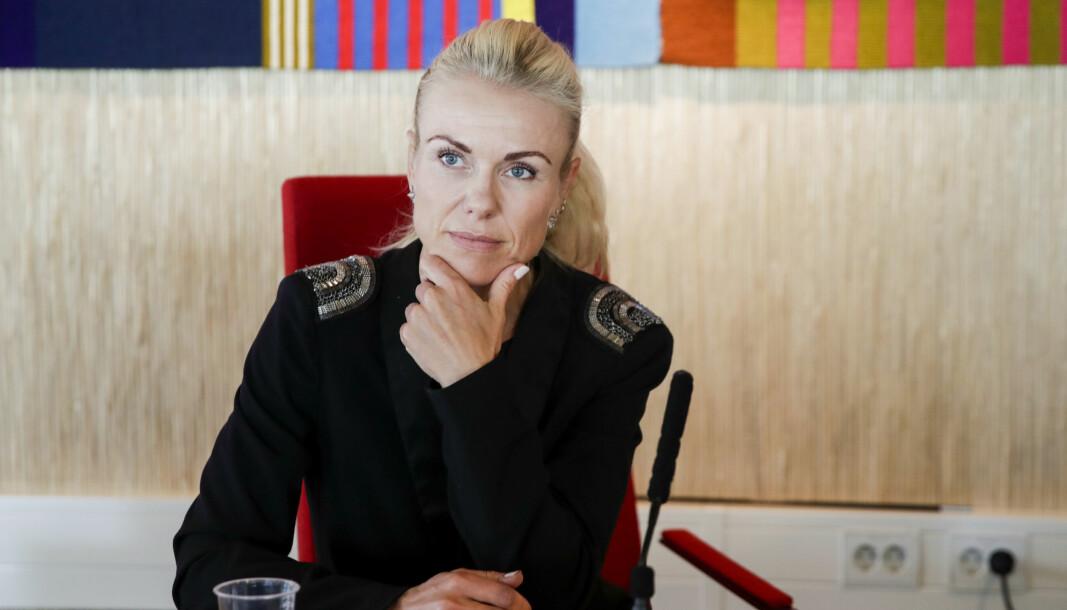 Kommuneoverlege i Nordre Follo, Kerstin Anine Johnsen Myhrvold, under pressekonferanse om koronasituasjonen i Norde Follo kommune.