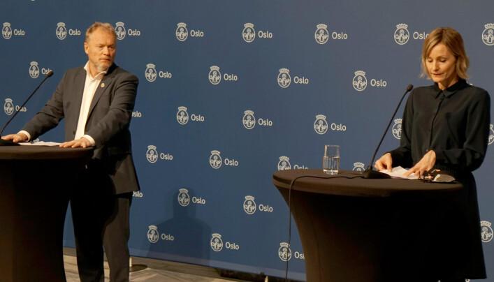 Raymond Johansen og Inga Marte Thorkildsen fortalte om tiltak fram mot jul i Oslo.