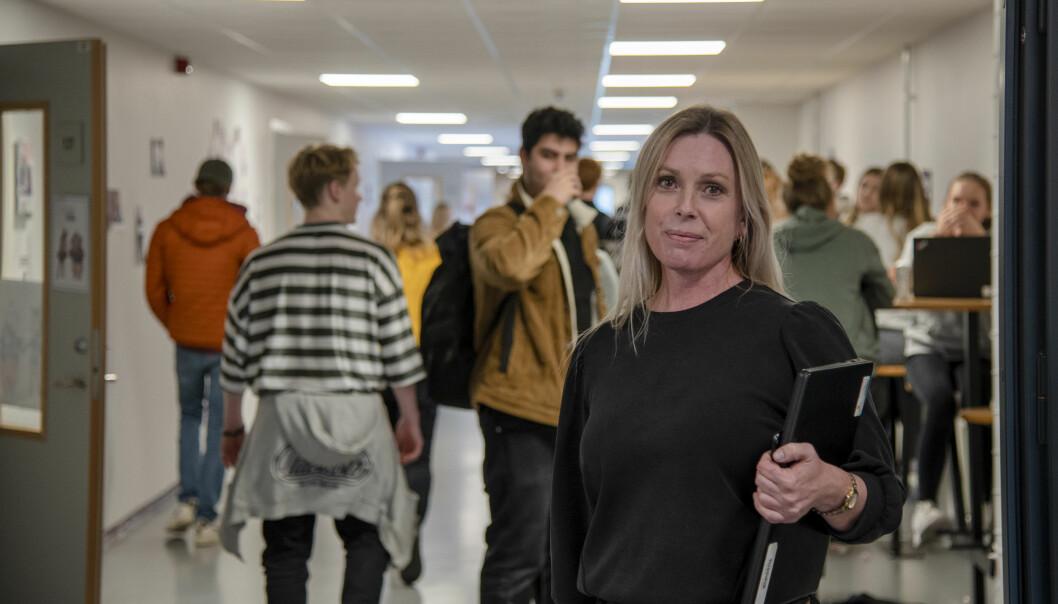 Lærer Kjersti Heldaas ved Nøtterøy videregående skole håper de får en forskrift som åpner for mer bruk av hjemmeskole.