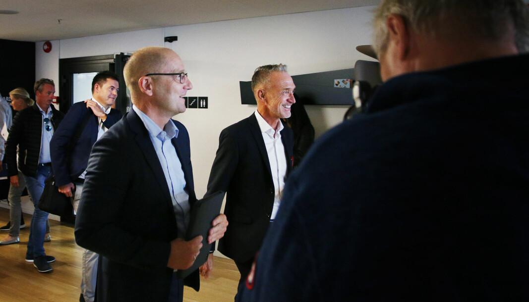 Forhandlingslederne Steffen Handal (Utdanningsforbundet) i Unio og Tor Arne Gangsø i KS da årets lønnsforhandlinger startet.