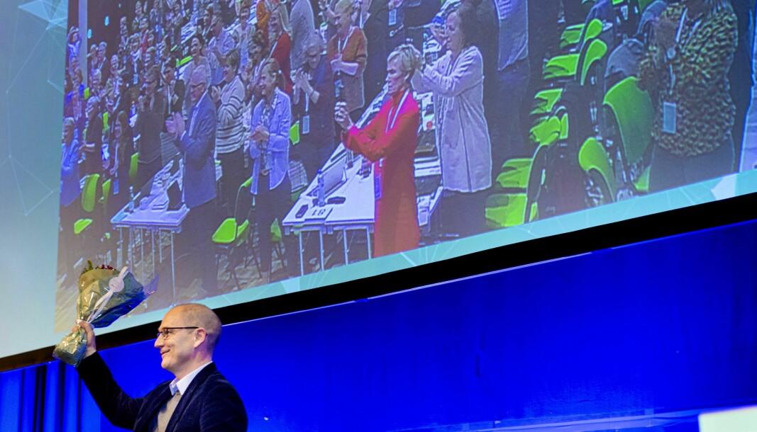 Bildet er fra landsmøtet i 2019, da Steffen Handal ble gjenvalgt som leder.