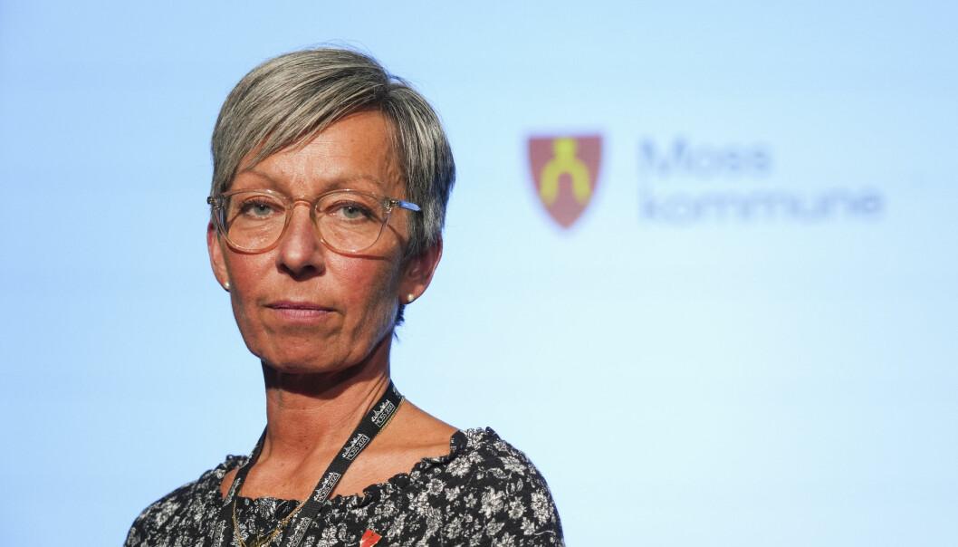 Ordfører i Moss Hanne Tollerud, under pressekonferanse i Moss kommune om koronasituasjonen.