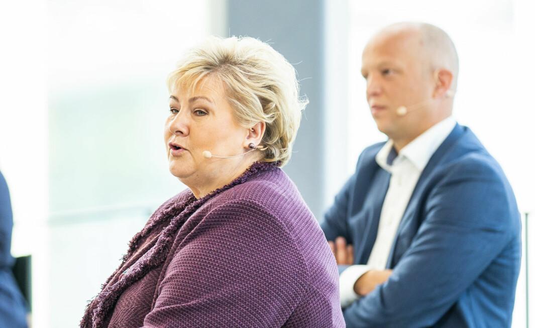 Statsminister Erna Solberg (H) og leder i Senterpartiet (Sp) Trygve Slagsvold Vedum
