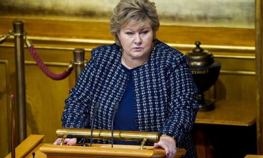 Oslo 20210118.  Statsminister Erna Solberg (H) gjr rede for hndteringen av koronapandemien i Stortinget mandag. Foto: Hkon Mosvold Larsen / NTB