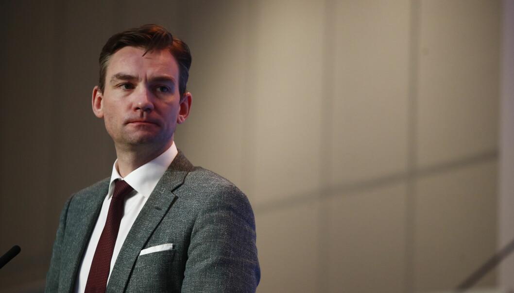 Forsknings- og hæyere utdanningsminister Henrik Asheim på pressekonferanse om koronasituasjonen i Norge.