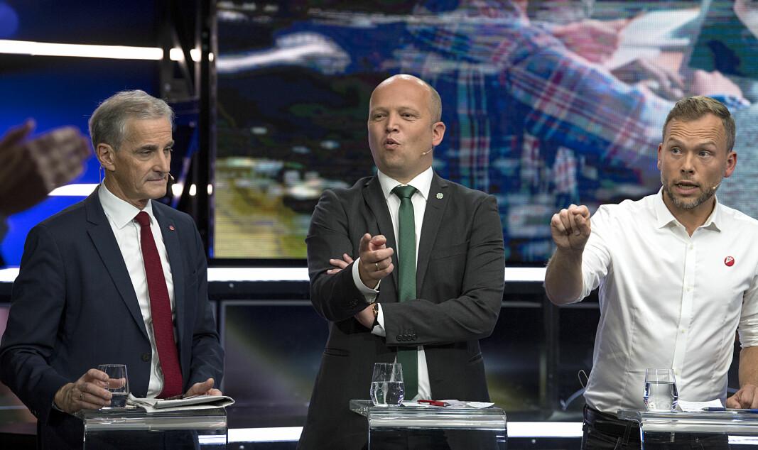 Jonas Gahr Støre (Ap), Trygve Slagsvold Vedum (Sp), Audun Lysbakken (SV) på partilederdebatt i 2019. De må satse på å vinne valget dersom de skal reversere ordningen med nasjonal inntaksordning i videregående skole.
