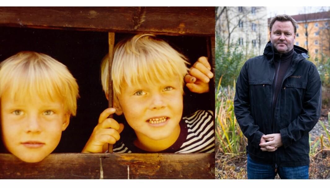 Assisterende helsedirektør Espen Rostrup Nakstad har daglig vært å se i media siden koronapandemien kom til Norge, og ville bare være ute å leke på førskolen. Han hadde et nært forhold til tvillingbroren Anders (t.v.), som døde i en helikopterulykke i 2014. Her leker de i en lekehytte, fem år gamle