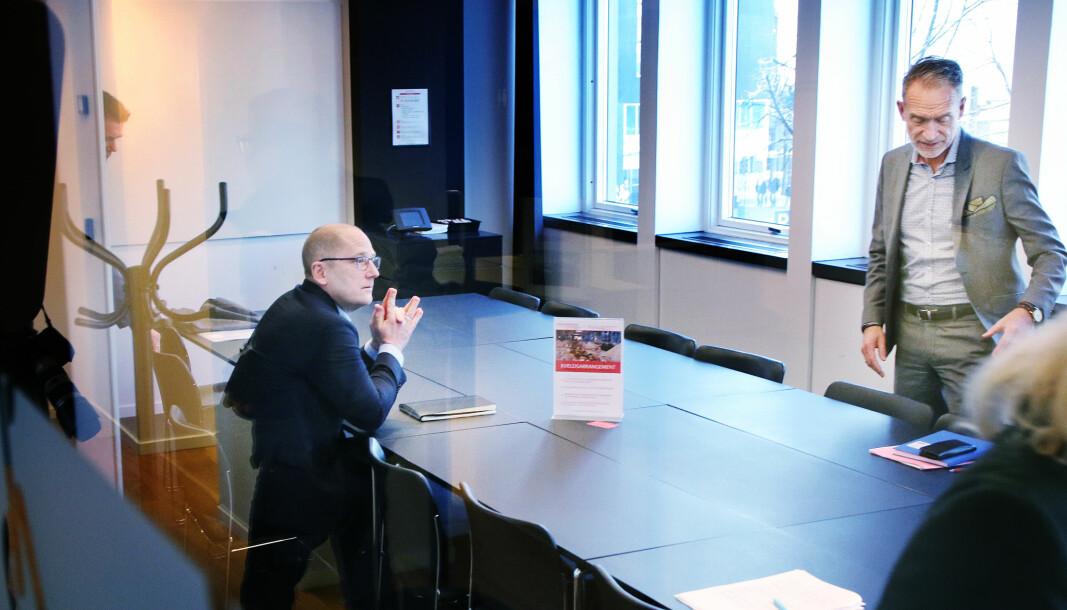 Steffen Handal og forhandlingsleder i KS, Tor Arne Gangsø, under tariffoppgjøret i 2019.