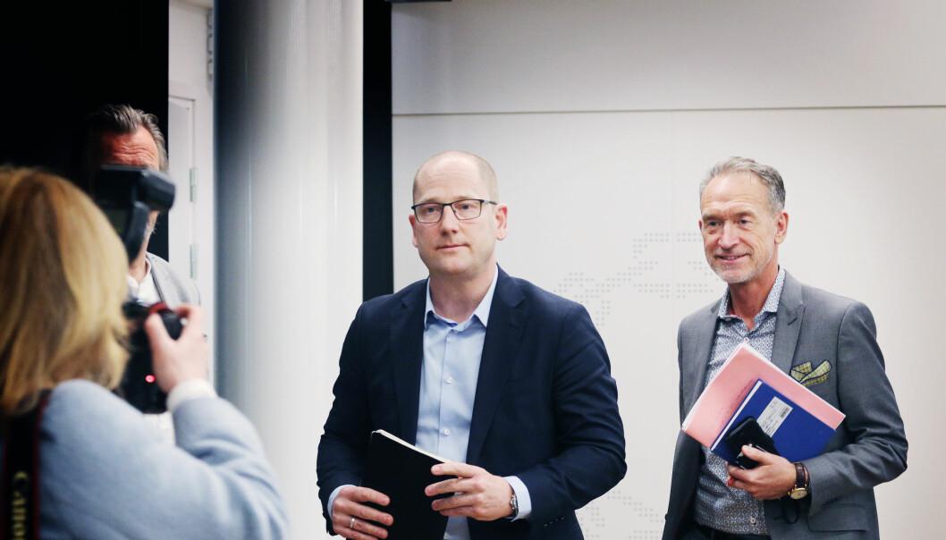 Forhandlingssjef for Unio, Steffen Handal, og forhandlingsleder for KS, Tor Arne Gangsø. De siste årene har kravet fra Unio vært at de høyt utdannete skal prioriteres.