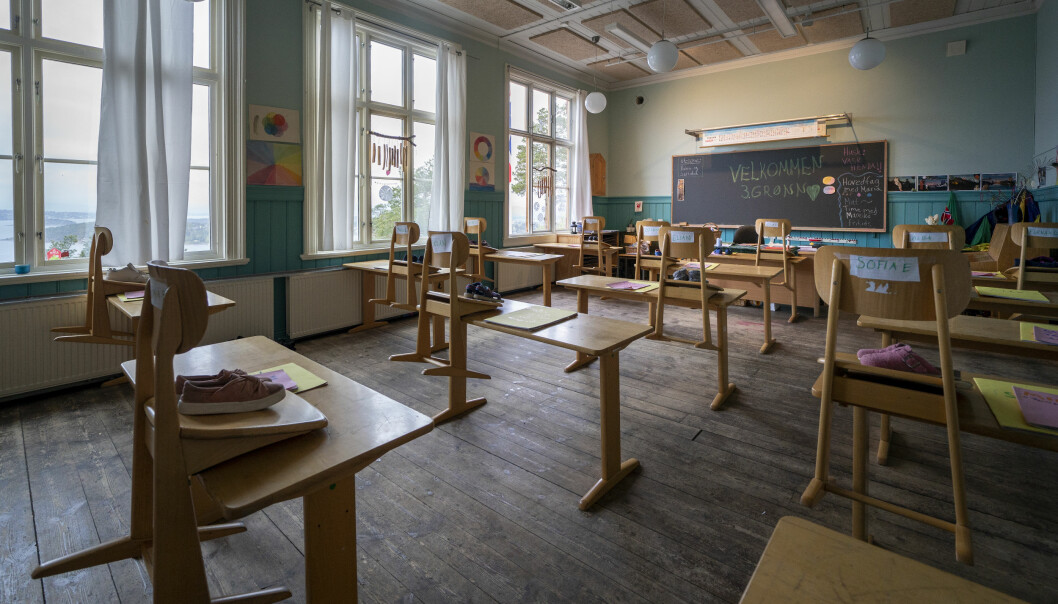 3. klasserommet på Nordstrand Steinerskole klartgjort for å ta imot igjen elever etter nedstengingen i fjor vår.