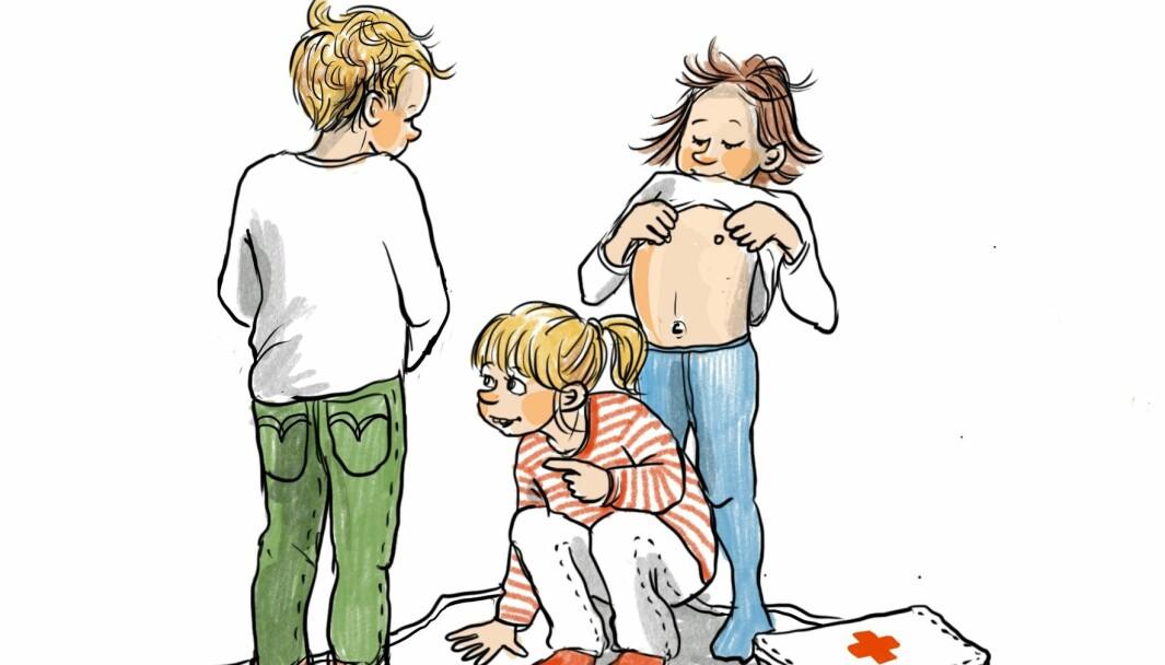 Barna begynner tidlig å undersøke egen og andres kropp, kle av seg, titte på hverandre og leke doktorleken. Blir leken møtt med aksept, føler barna glede og spenning. Møtes leken med forbud, kan barna føle skam, ifølge artikkelforfatterne.