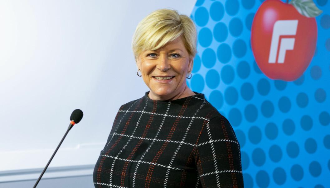 Oslo 20210320.  Siv Jensen taler til Frp sitt digitale landsstyremøte. Foto: Frp / NTB