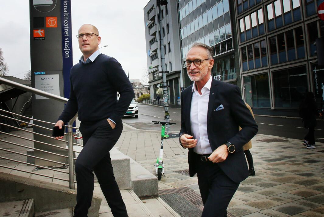 Steffen Handal i Unio og Tor Arne Gangsø i KS.