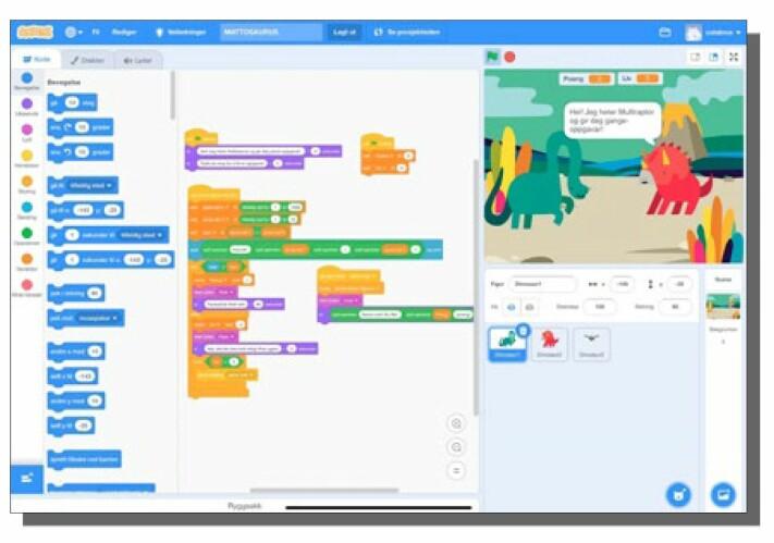 Samme type spill programmert i Python og i Scratch. Scratch gir elevene en visuell fremstilling av programmeringen.