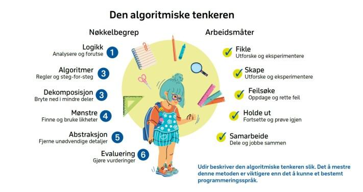 Udir beskriver den algoritmiske tenkeren slik. Det å mestre denne metoden er viktigere enn det å kunne et bestemt programmeringsspråk.