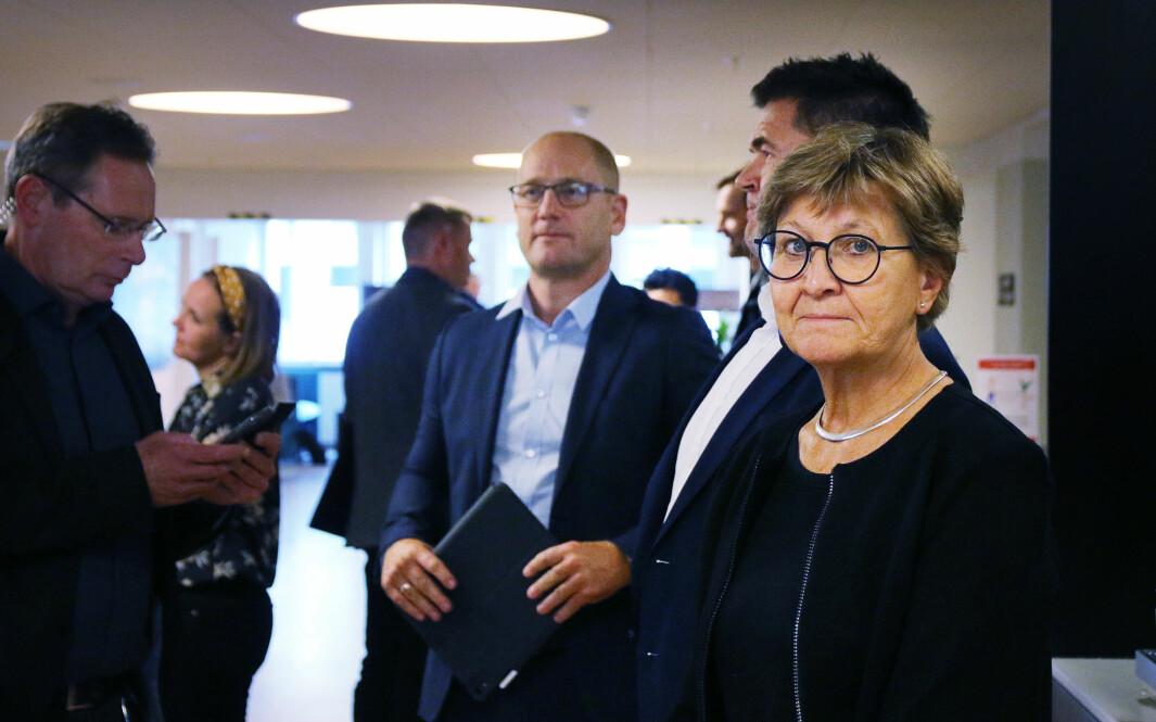 Mette Nord fra Fagforbundet, her sammen med Steffen Handal fra Unio, under tariffoppgjøret i 2020.