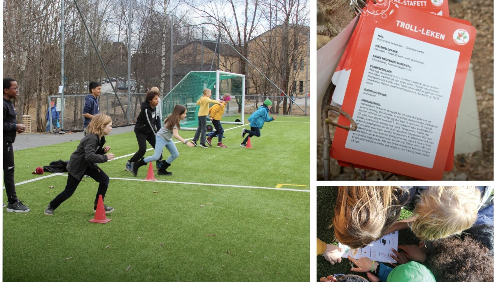 Norges Orienteringsforbund sender skoler gratis poster og materiell. Orienterings-stafett på kunstgresset gir stor aktivitetsglede.
