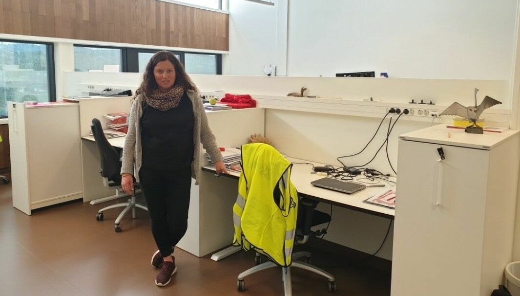 Lærere og ansatte ved Levanger ungdomsskole gir fra seg dette arbeidsrommet. Kontaktlærer Anna Bersås håper de får det tilbake neste år.