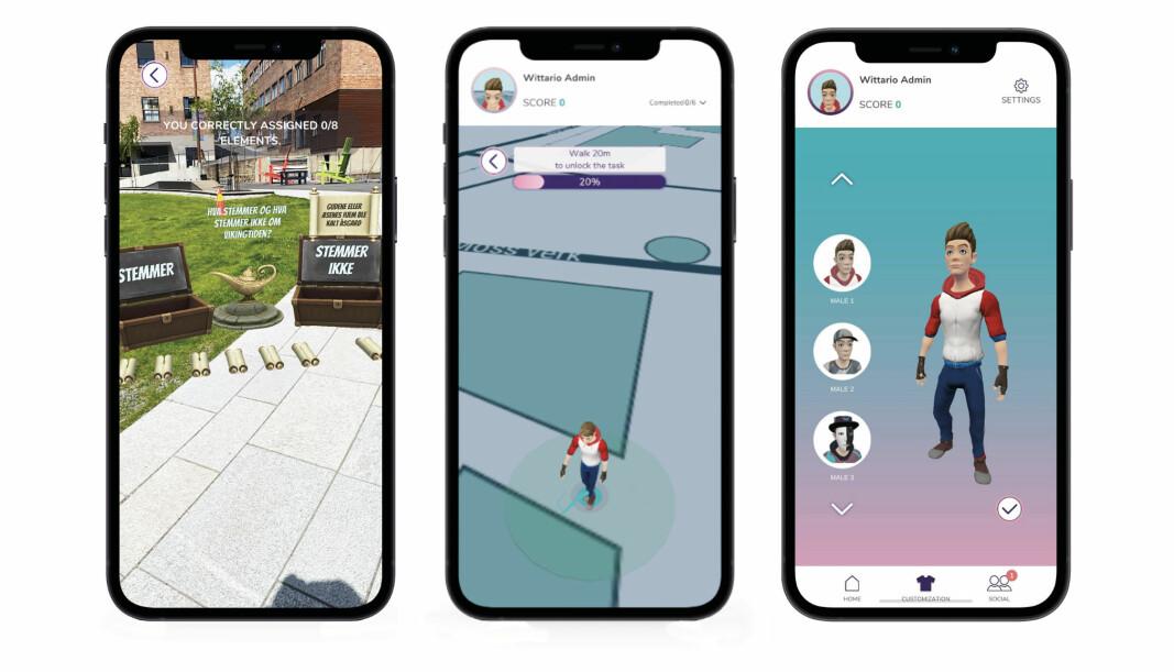 Elevene ser spillfiguren (sin egen posisjon) på kartet. De ser også bygninger og veier, samt neste «post» og en pil som peker hvilken retning de skal gå. På samme måte som man ser Pokémons på skjermen i Pokémon Go, kan elevene løse oppgaver ved å jobbe med interaktive elementer.