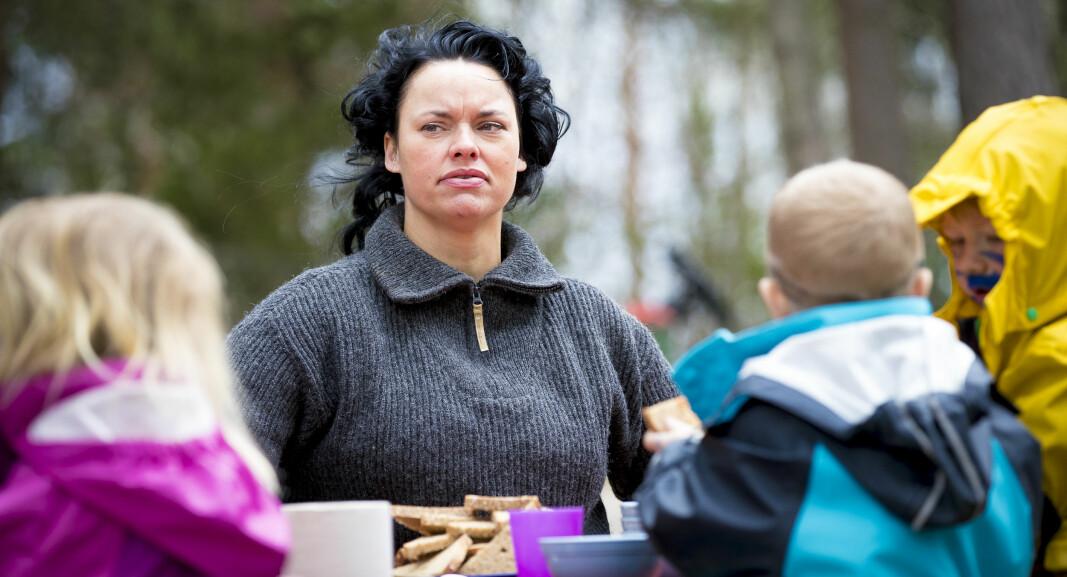 Barnehagestyrer Palma Kleppe på jobb i den foreldredrevne barnehagen på Nesodden i Akershus. Hun har vært med i barnehageopprøret siden starten i 2016. (bt til lignende bilde) *** Local Caption *** Opprørets time  For to år siden strakte Palma Kleppe hånden i været i et auditorium i Oslo. Slik begynte et barnehageopprør.
