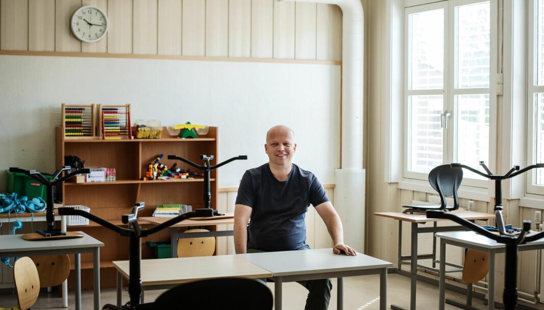 Senterpartiets leder Trygve Slagsvold Vedum fotografert på Beidablikk skole, der han selv gikk som barn.