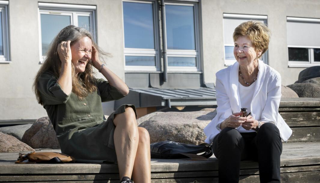 Elrid Lüdemann og Hanne Skartveit har møttes flere ganger opp gjennom årene, ikke minst fordi lærer Elrid har vært invitert av Hannes klasse til flere klassefester.