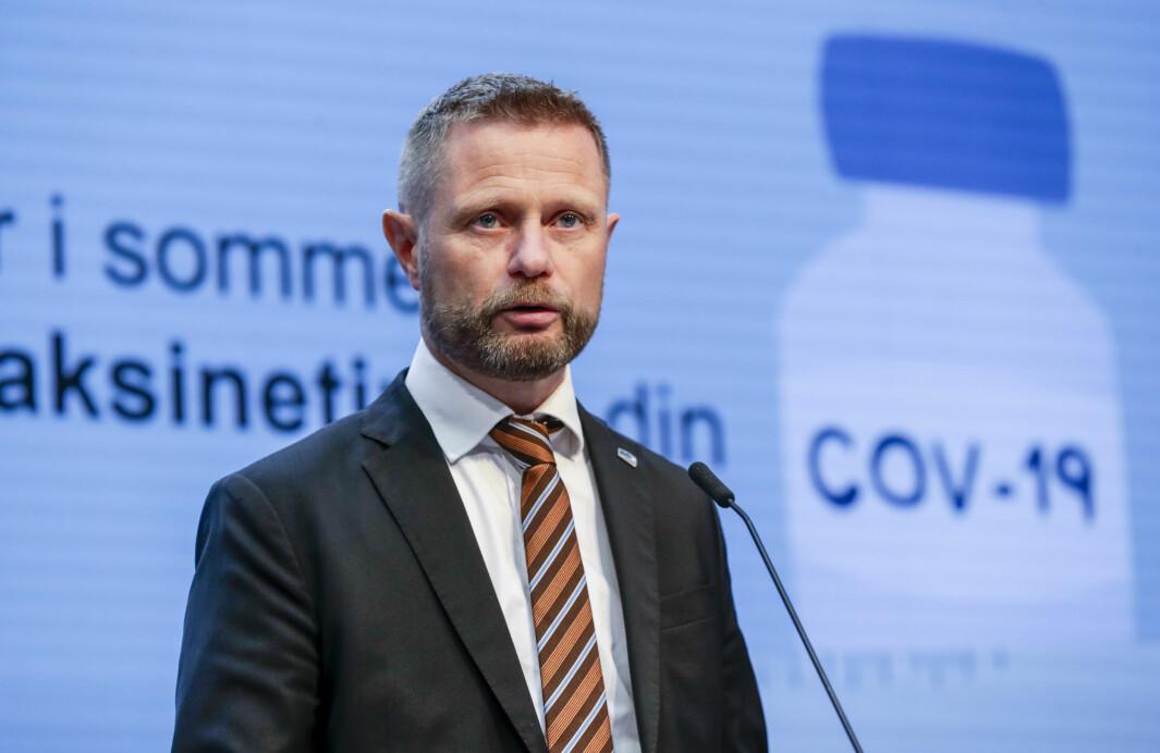 Helse- og omsorgsminister Bent Høie (H) .