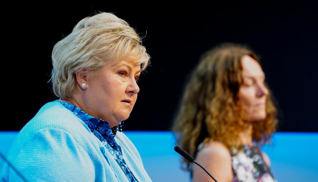 Oslo 20210902. Statsminister Erna Solberg og Camilla Stoltenberg under en pressekonferanse om koronasituasjonen.Foto: Terje Pedersen / NTB