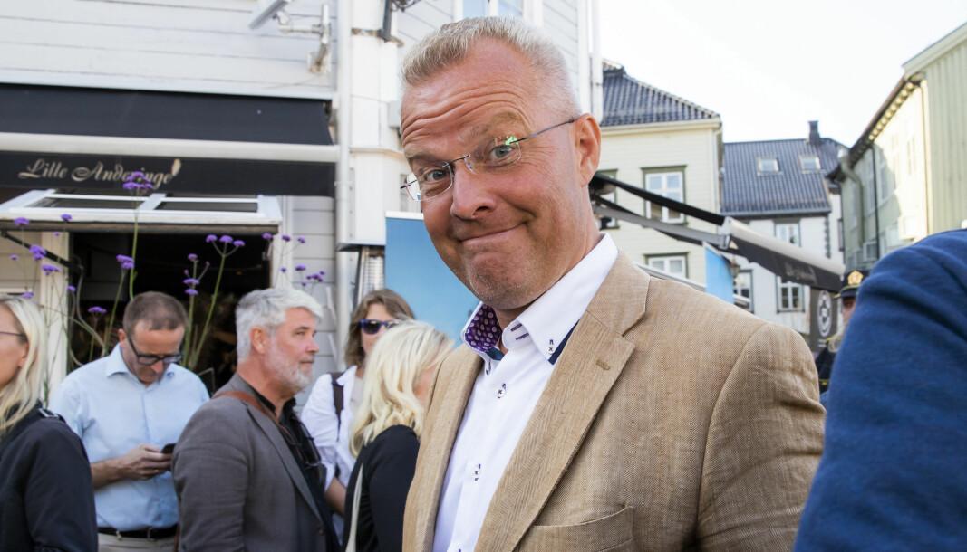 Alliansen-leder Hans Jørgen Lysglimt Johansen forsøkte å lokke elever med penger for at de skulle si nei til korona-vaksine. Her fotografert under Arendalsuka.
