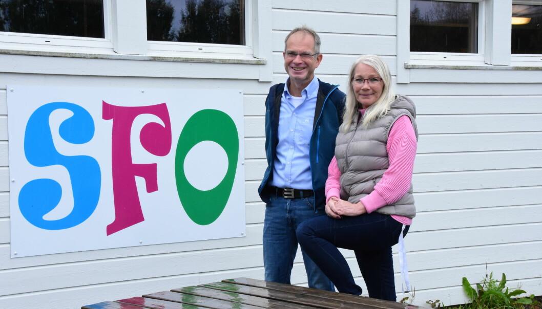 Rektor Kjell Arne Haugan og SFO-leder Berit Ulriksborg har savna debatten om skolefritids- ordningen i valgkampen.