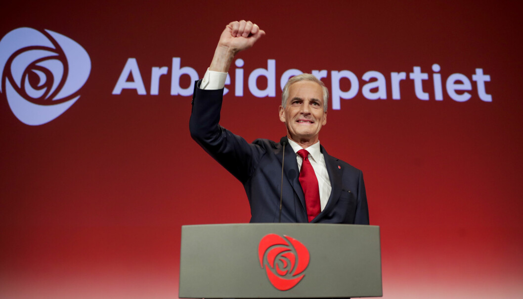 Ap-leder Jonas Gahr Støre på Arbeiderpartiets valgvake i Folkets Hus i Oslo.