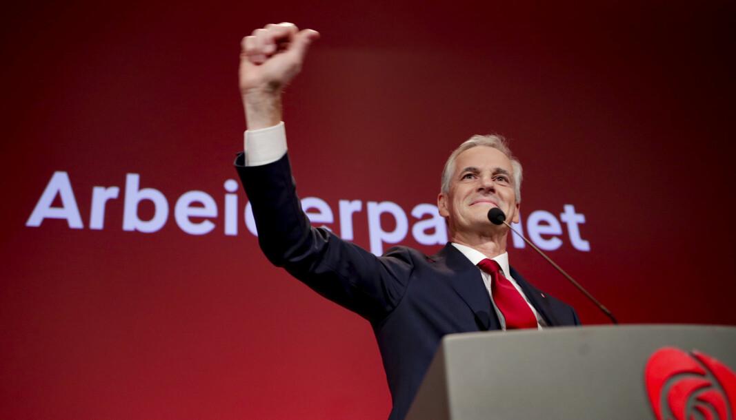 Ap-leder Jonas Gahr Støre erklærte partiet som valgvinner i sin tale til Arbeiderpartiets valgvake på Folkets hus