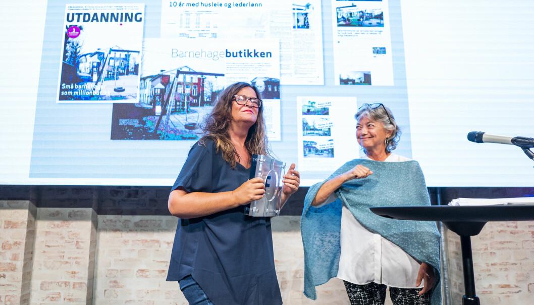 Journalist Kari Oliv Vedvik tok imot Fagpressens gravepris 2021. Jørgen Jelstad, som hun deler prisen med, var ikke til stede på utdelingen.