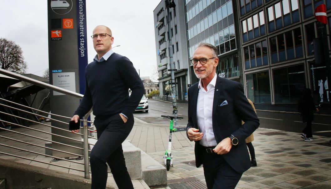 Steffen Handal. leder i Utdanningsforbundet og forhandlingsleder for Unio, og forhandlingsleder i KS, Tor Arne Gangsø da lønnsforhandlingene startet i vår.