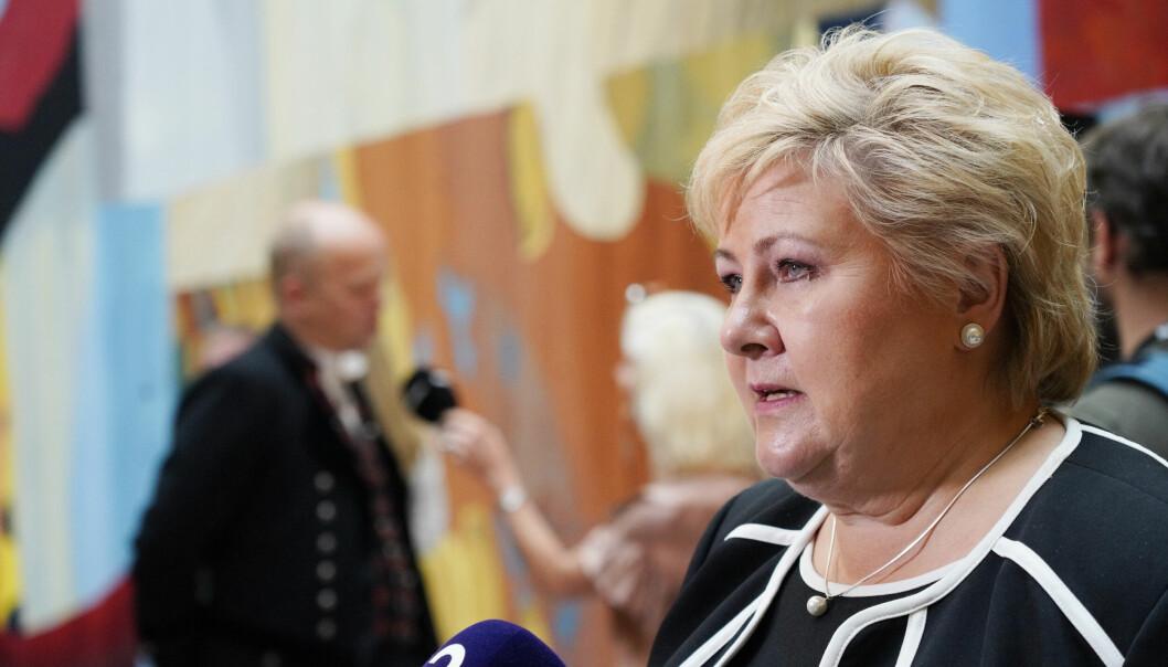 Avtroppende statsminister Erna Solberg etter åpningen av Stortinget 11.10.2021.