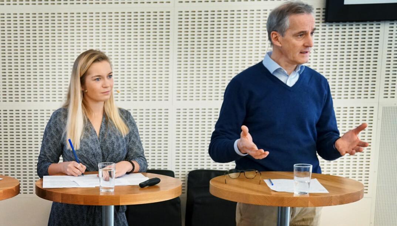 Mathilde Tybring-Gjedde (H) og Jonas Gahr Støre (Ap) i debatt tidligere i år.