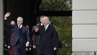 Smilende Støre presenterte ny regjering på Slottsplassen